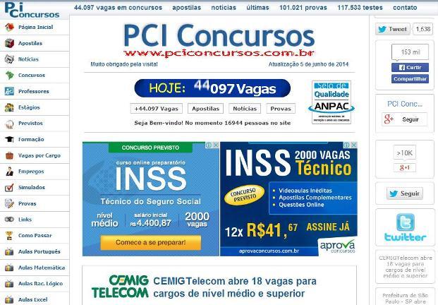 PCI Concursos testes simulados