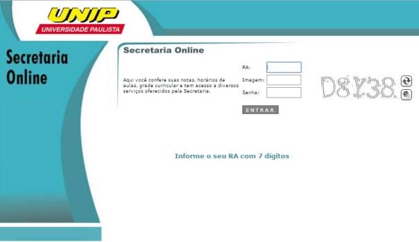 Página da secretaria online UNIP. (Foto: Divulgação)